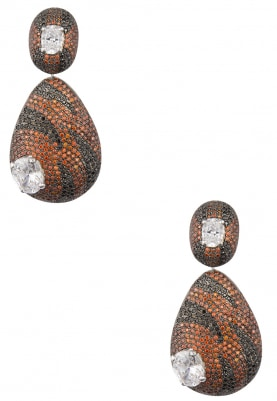 White and Black Rhodium Plated Cubic Zirconia Dangler Earrings