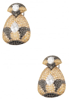 White, Black Rhodium and Gold Plated Hand Painted Zircons Earrings