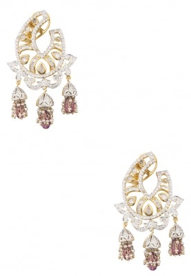 18k Gold and Silver Finish Zircons, Rosecuts and Tourmaline Earrings