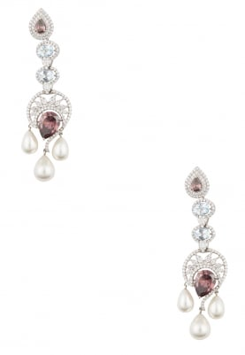 White Rhodium Cubic Zirconia, Shell Pearl and Blue Topaz Earrings
