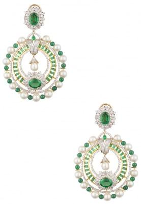 White Rhodium and Yellow Gold Plating Emerald Chandbali Earrings