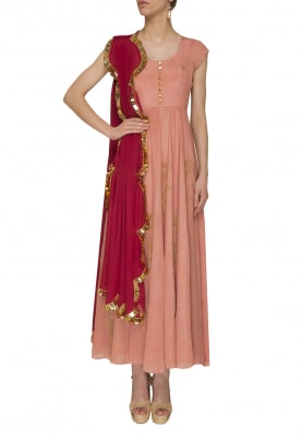 Mauve Pink Anarkali with Red Golden Tassel Dupatta