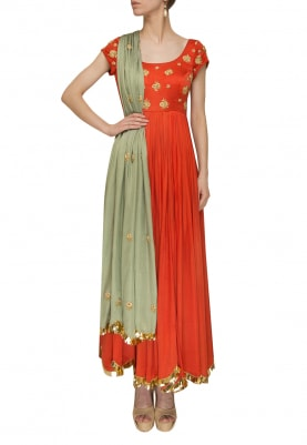 Peachish Orange Yoke Embroidered Anarkali with Pista Green Embroidered Dupatta