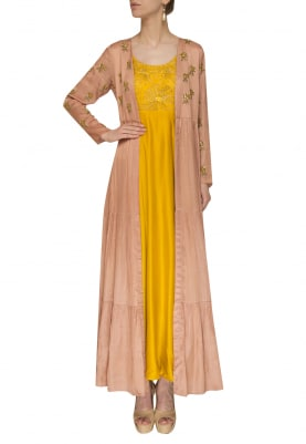 Lime Embroidered Anarkali with Mauve Yoke and Sleeve Embroidered Jacket