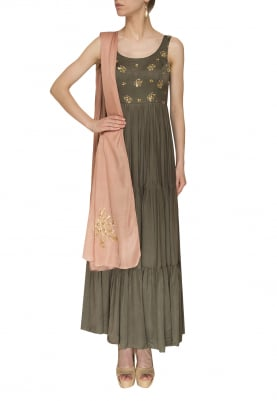 Grey Anarkali with Mauve Embroidered Border and Boota Work