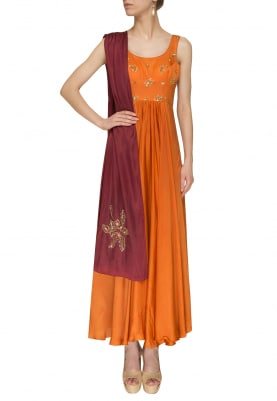 Mustard Anarkali with Maroon Embroidered Border and Boota Work