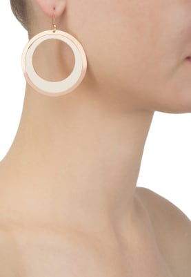 Rose Gold Finish Faux Leather Hoops