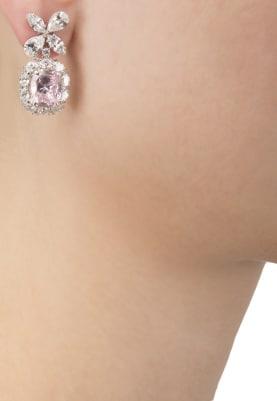 White Rhodium Finish Baby Pink Zirconia Earrings