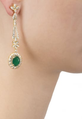 Yellow Gold Plated Emerald and Cubic Zirconia Earrings