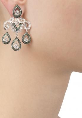 White and Black Rhodium Finish Green Cubic Zirconia Earrings