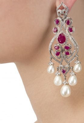 White Rhodium Finish Cubic Zirconia and Rubies Pearl Earrings