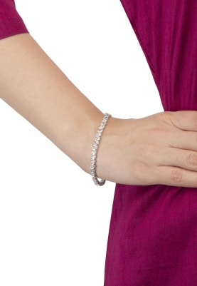 White Rhodium Finish Cubic Zirconia Bracelet