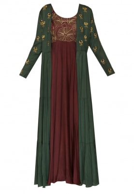 Maroon Embroidered Anarkali with Bottle Green Yoke and Sleeve Embroidered Jacket