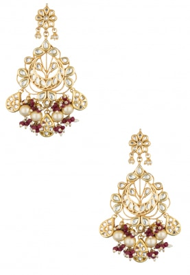 22k Gold Plated Flower Motif Chandbali Earrings