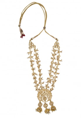 22k Gold Finish Kundan Chandbali Motif Necklace