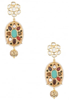 22k Gold Plated Navratan Stone Studded Earrings