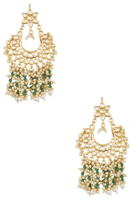 22k Gold Finish Beadwork And Pearl Chandbali Earrings
