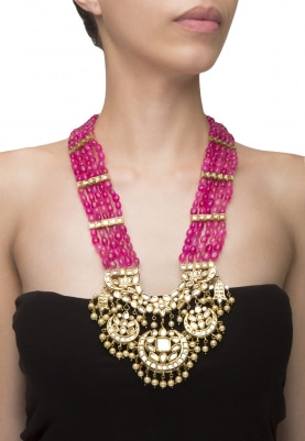 22k Gold Finish Ruby Beaded Necklace