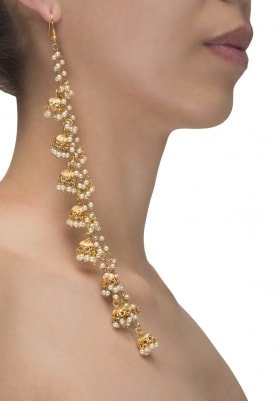 Gold Plated Multi Pearl String Jhumki Earrings