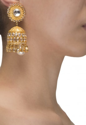 Gold Plated Pearl Tassel Jhumki Earrings