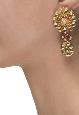22k Gold Plated Floral Kundan Hangings