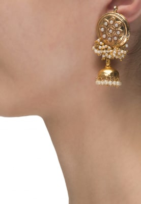 22k Gold Plated Pearls Cluster Jhumkis