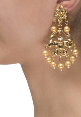 22k Gold Finish Floral Kundan Chandbali Earrings