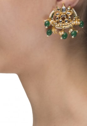 22k Gold Finish Emerald Kundan Studs