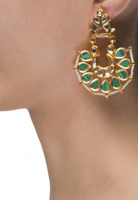 22k Gold Finish Green Stone Chaanbali Earrings