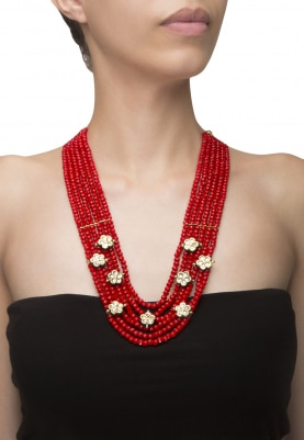 Gold Finish Kundan Flowers Red Beaded Necklace