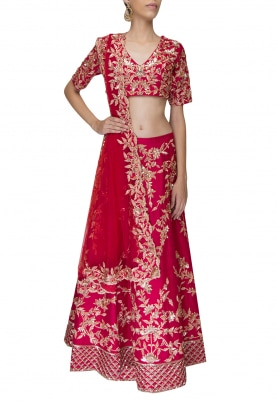 Red Gold Embroidered Lehenga and Choli