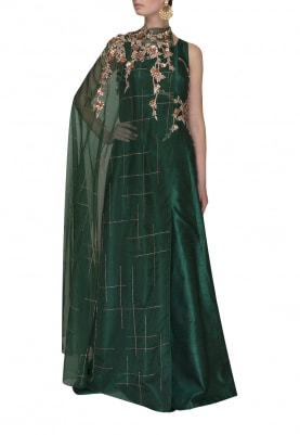 Bottle Green Patterened Embroidered Gown with Shoulder Cape
