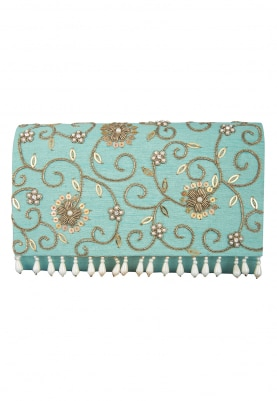 Jasmine Turquoise Clutch with Stone and Pearl Floral Embellished