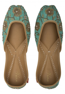 Jasmine Turquoise Jutti with Stone and Pearl Floral Embellished