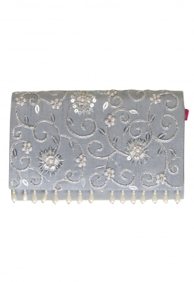 Silver Grey Nargis Clutch with Stone and Pearl Floral Embellished