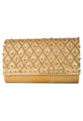 Goldmine Clutch with Sequin and Zardozi Embellished Jaalwork
