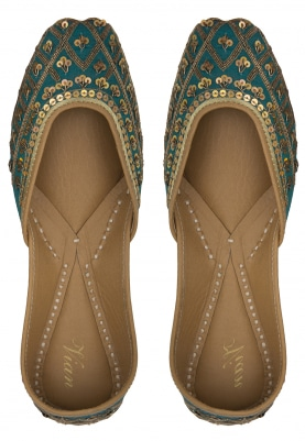 Elixir Turquoise Jutti with Sequin and Zardozi Embellished Jaalwork