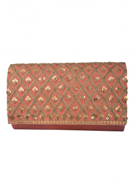 Cupid Coral Clutch with Sequin and Zardozi Embellished Jaalwork