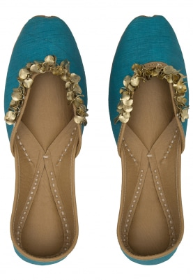 Freesia Turquoise Blue Jutti with Embellished Jhallar