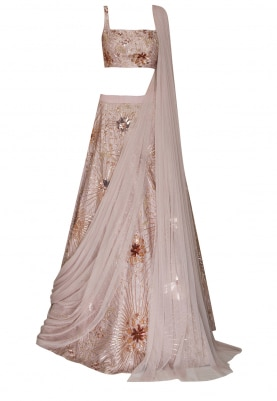 Dusky Pink Heavy Gold Embroidered Lehenga, Choli with Transparent Drape Dupatta