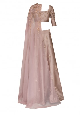 Blush Lehenga with Blouse and Embroidered Neck Drape