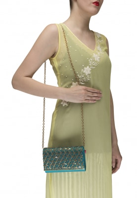 Elixir Turquoise Clutch with Sequin and Zardozi Embellished Jaalwork