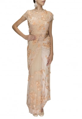 Peach Chantilly Lace Laser Cut Embroidered Saree