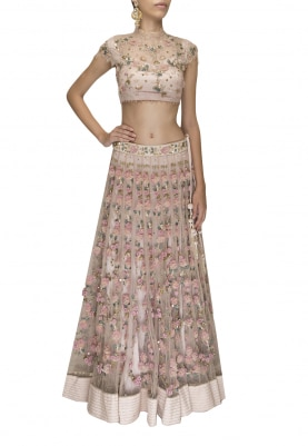 Pink Garden Chantilly Lace Embroidered Lehenga, Crop Topwith Tassel and Dupatta
