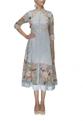 Blue Cherry Blossom 3D Floral Embroidered Tunic and Pant