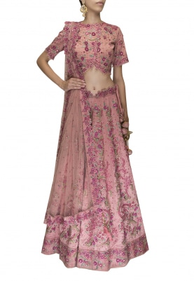 Rose Gold Afreen Thread Work Hand Embroiderywith Dabka and Swaroski Crystal Work Lehenga Set