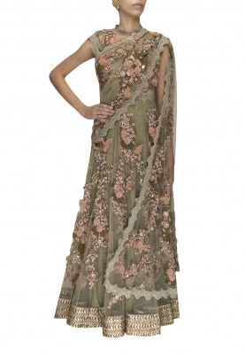 Olive Firdaus Hand Embroidered Anarkaliwith Scalloped Lace Border Attached Dupatta