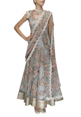 Morning Blue Firdaus Hand Embroidered Anarkaliwith Scalloped Lace Border Attached Dupatta