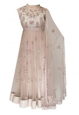Blush Shalimar 3D Embroidered Anarkaliwith Draped Scalloped Border Dupatta
