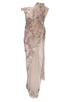 Pink Garden Chantilly Lace Embroidered Saree